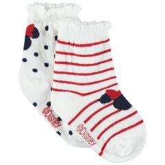 Σετ 2 ζευγάρια ασορτί κάλτσες με πουά, ρίγες και ζακάρ μοτίβο Μίνι της Disney