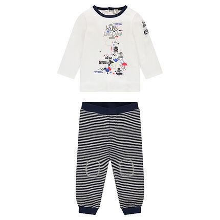Σύνολο μακρυμάνικη μπλούζα με τύπωμα και ριγέ παντελόνι