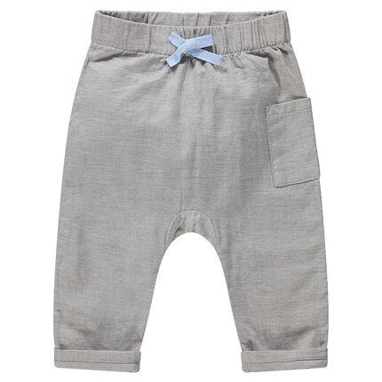 Βαμβακερό παντελόνι με λάστιχο στη μέση και πλακέ τσέπη