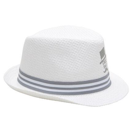 Καπέλο τύπου μπορσαλίνο με όψη ψάθινου καπέλου και ριγέ σιρίτι