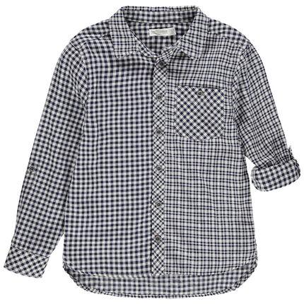 Μακρυμάνικο πουκάμισο με μικρά καρό και τσέπη στο στήθος