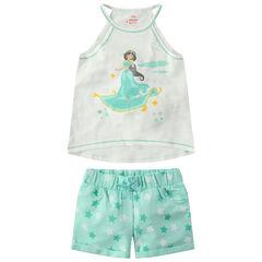 Σύνολο αμάνικο μπλουζάκι με τυπωμένη Jasmine και σορτς με μοτίβο αστέρια