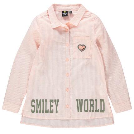Μακρυμάνικο πουκάμισο με λεπτές ρίγες, σήματα και φράσεις Smiley