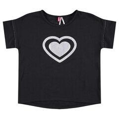 Κοντομάνικη μπλούζα με τυπωμένη καρδιά μπροστά