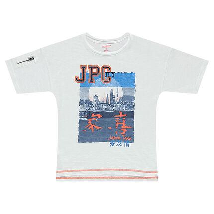 Κοντομάνικη μπλούζα με τύπωμα και τσέπη με φερμουάρ στο μανίκι