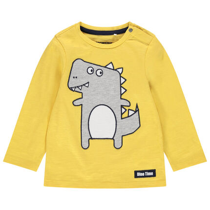 Μακρυμάνικη ζέρσεϊ μπλούζα με κεντημένο δεινόσαυρο