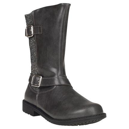 Μπότες από συνθετικό δέρμα με αγκράφες και στρας, σε νούμερα από 28 έως 35