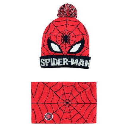 Πλεκτό σύνολο σκούφος και κυλινδρικό κασκόλ με ζακάρ μοτίβο Spiderman της ©Marvel