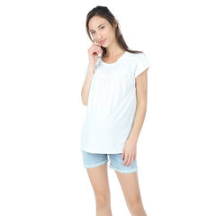 Κοντομάνικη μπλούζα εγκυμοσύνης με σούρες και πιέτες
