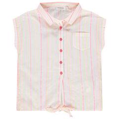 Αμάνικο πουκάμισο με χρωματιστές ρίγες και κορδονάκια που δένουν μπροστά