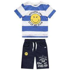 Σύνολο ριγέ μπλούζα με μπουκλέ μοτίβο Smiley και βερμούδα με στάμπα