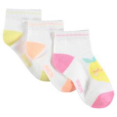 Σετ 3 ζευγάρια ασορτί κάλτσες με ζακάρ φρούτα