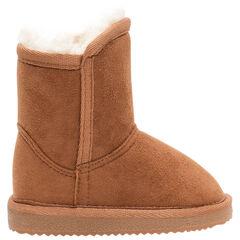 Καμηλό χαμηλές μπότες με σουέτ υφή και γούνινη επένδυση