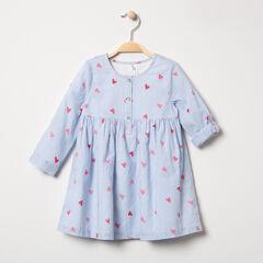 Μακρυμάνικο φόρεμα με ρίγες και καρδούλες