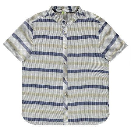 Παιδικά - Βαμβακερό, ριγέ κοντομάνικο πουκάμισο με μάο γιακά