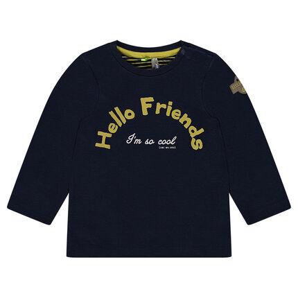 Μακρυμάνικη μπλούζα από διπλής όψης ζέρσεϊ με στάμπα