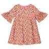 Φόρεμα με βολάν στα μανίκια 3/4 και εμπριμέ φλοράλ μοτίβο