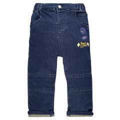 Φανελένιο παντελόνι σε στιλ τζιν με σήματα-μπαλώματα
