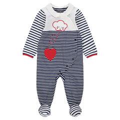 Ζέρσεϊ ριγέ φορμάκι ύπνου με κεντημένο σύννεφο και καρδιά
