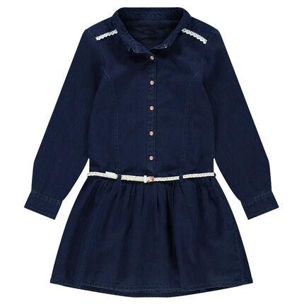 Παιδικά - Μακρυμάνικο τζιν φόρεμα με αφαιρούμενη ζώνη