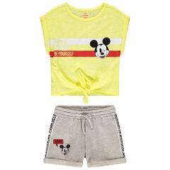 Σύνολο κοντομάνικη μπλούζα με δέσιμο και σορτς με στάμπα Mickey της Disney , Orchestra