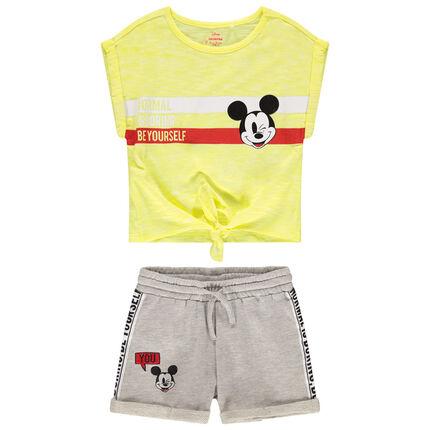 Σύνολο κοντομάνικη μπλούζα με δέσιμο και σορτς με στάμπα Mickey της Disney