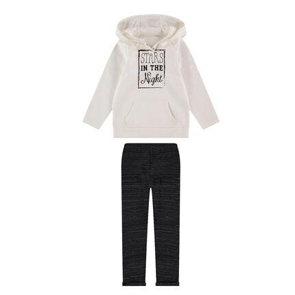 Φανελένιο σύνολο φούτερ με κουκούλα και στάμπα και μελανζέ παντελόνι