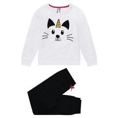 Παιδικά - Πιτζάμα από φανέλα και ζέρσεϊ με στάμπα γάτα-μονόκερο