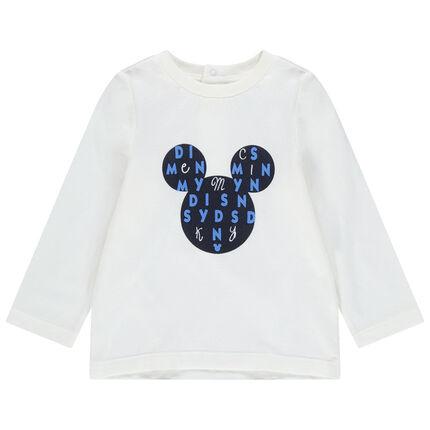 Μακρυμάνικη μονόχρωμη μπλούζα με στάμπα τον Mickey της Disney