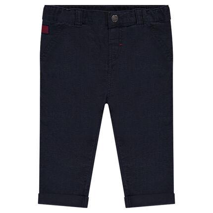 Παντελόνι μονόχρωμο βαμβακερό με τσέπες