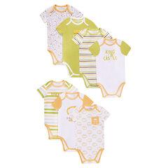 7Σετ με 3 κοντομάνικα  φορμάκια από ζέρσεϊ με στάμπα και μοτίβα σε διακοσμητικό σχέδιο