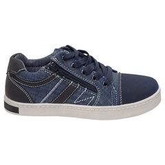 Χαμηλά αθλητικά παπούτσια από ύφασμα με όψη ντένιμ και φερμουάρ