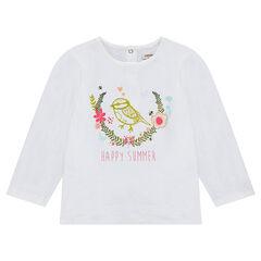 Μονόχρωμη μακρυμάνικη μπλούζα από ζέρσεϊ με στάμπα