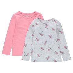 Σετ με 2 μακρυμάνικες ζέρσεϊ μπλούζες, μία μονόχρωμη/μία εμπριμέ με μονόκερους