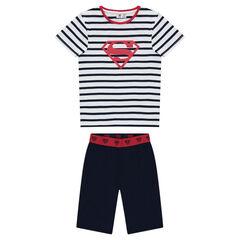 Κοντή πιτζάμα από ζέρσεϊ με μονόχρωμη βερμούδα και ριγέ μπλούζα με στάμπα Superman της ©Warner