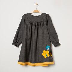 Μακρυμάνικο βαμβακερό φόρεμα με ανάγλυφο πουά και κεντημένα λουλούδια