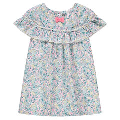 Φόρεμα με βολάν και φλοράλ μοτίβο