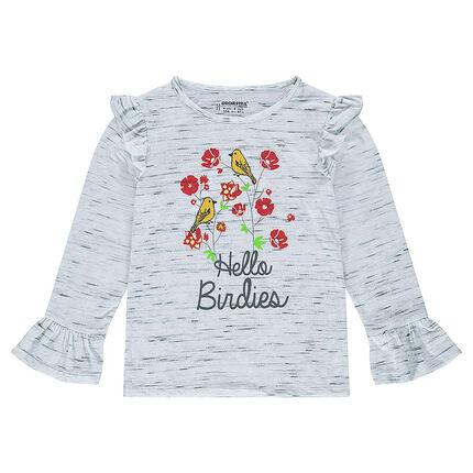 Κοντομάνικη μπλούζα με φλοράλ στάμπα και βολάν