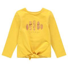 Κίτρινο φανελένιο φούτερ που δένει μπροστά με φτερά με παγιέτες
