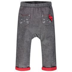 Πλεκτό παντελόνι με διακοσμητικό σχέδιο, τσέπες σε σχήμα γάτας και φιόγκο