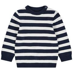 Πλεκτό πουλόβερ με ρίγες ζακάρ σε όλη την επιφάνεια