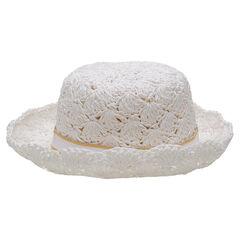 Καπέλο με εμφάνιση ψαθόχαρτο με γαλόνι και φιόγκο