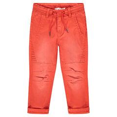 Βαμβακερό παντελόνι με νηματοβαφή πορτοκαλί με φθαρμένη όψη