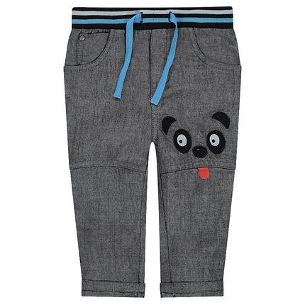 Σαμπρέ παντελόνι με απλικέ λεπτομέρειες και ελαστική ζώνη