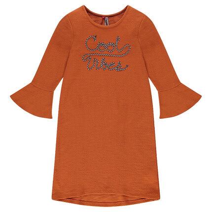 Παιδικά - Φόρεμα με μανίκια 3/4, βολάν και κέντημα με κορδόνι