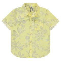 Κοντομάνικο πουκάμισο με εμπριμέ μοτίβο φύλλα