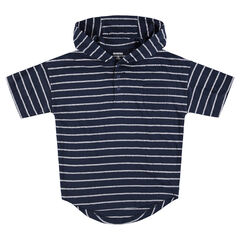 Παιδικά - Κοντομάνικη μπλούζα με κουκούλα και ρίγες