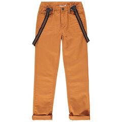 Παιδικά - Βαμβακερό παντελόνι στο χρώμα της ώχρας με ελαστικές αφαιρούμενες τιράντες