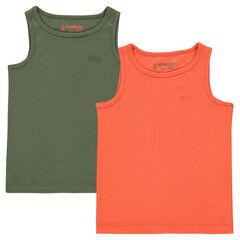 Παιδικά - Σετ με 2 μονόχρωμα αμάνικα μπλουζάκια σε ριμπ ύφανση