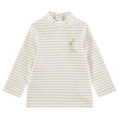 Μπλούζα με λαιμό ζιβάγκο, λεπτές χρυσαφί ρίγες και σατινέ φιόγκο